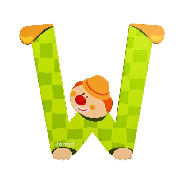 Janod wooden letter w clown design jack and jill kidswear for W and p design
