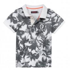 Pre-Order Catimini SS16 MB Urban Global Mix Ecru Tropial Print Polo Shirt