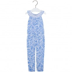 Mayoral SS16 Mini Girls Blue Flower Printed Jumpsuit
