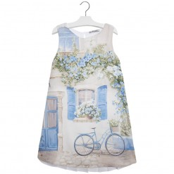 Mayoral SS16 Older Girls Light Blue Cycle Print Dress